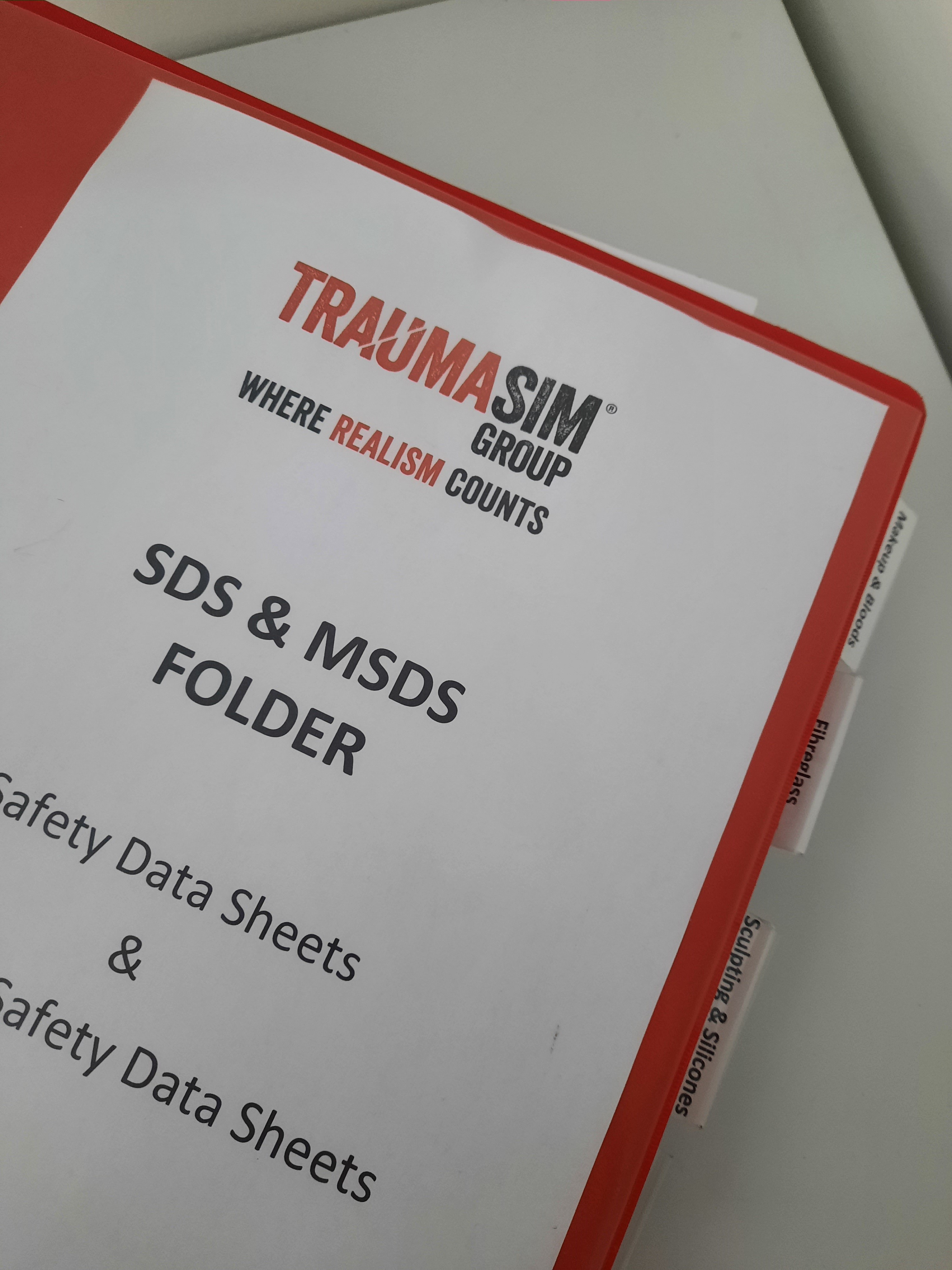 TraumaSim Group SDS Folder for materials used in the workplace